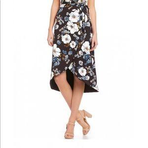 Gianni Bini Stella Floral Print Hi-Low Wrap Skirt